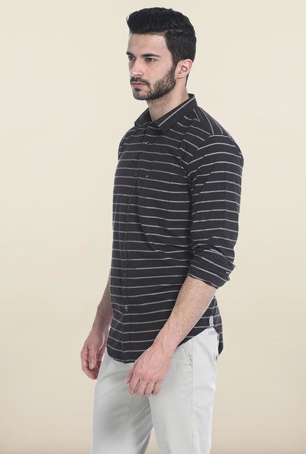 Basics Black Striped Slim Fit Casual Shirt