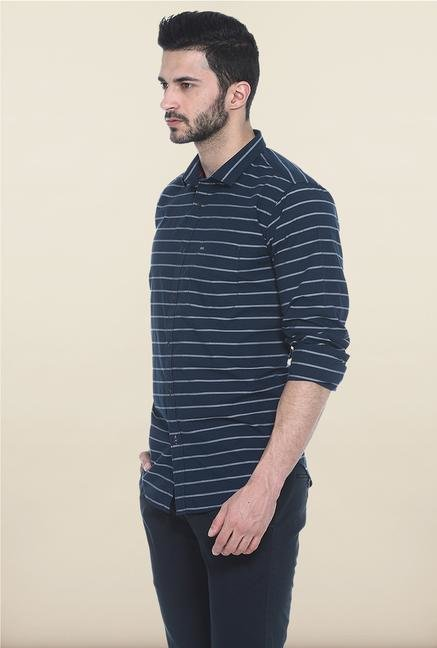 Basics Navy Striped Casual Shirt