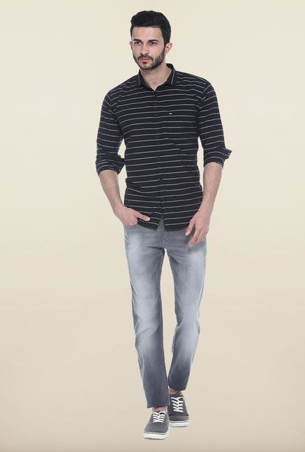 Basics Black Striped Casual Shirt