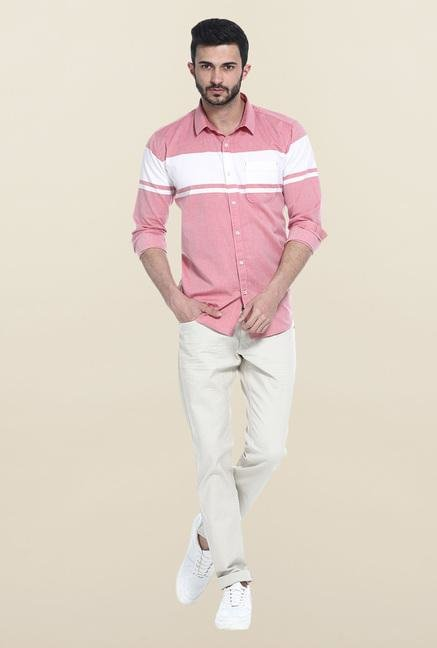 Basics Pink Solid Casual Shirt