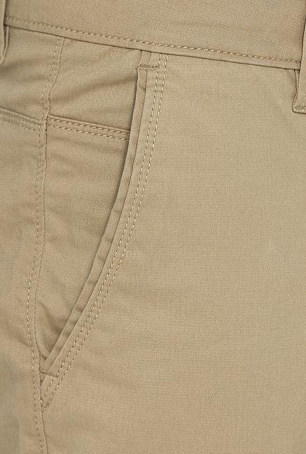 Basics Khaki Solid Slim Fit Cargos