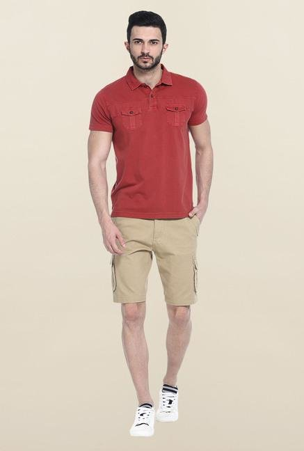Basics Red Solid Slim Fit Polo T-Shirt