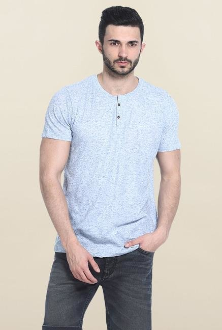 Basics Blue Short Sleeves Solid T-Shirt