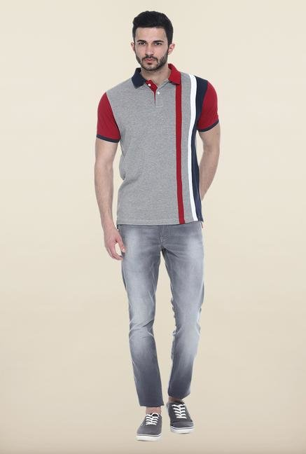 Basics Grey Solid Polo T-Shirt