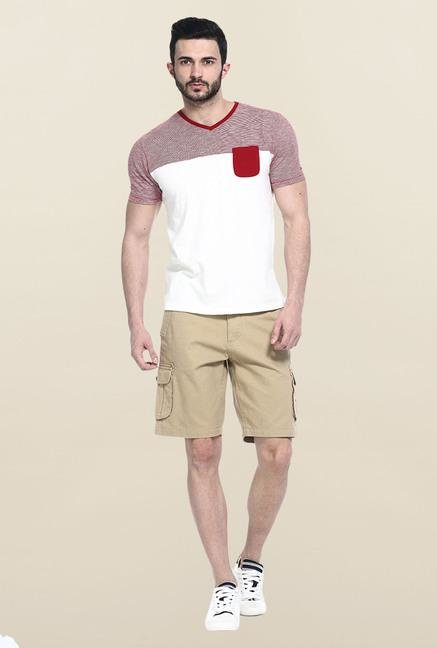 Basics Red & White Solid T-Shirt