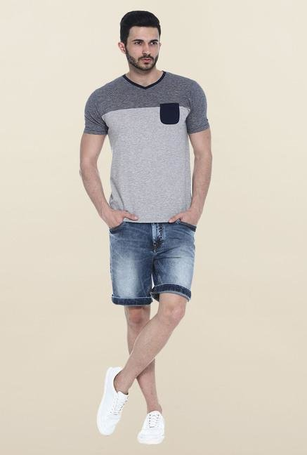 Basics Navy & Grey Solid Slim fit T-Shirt