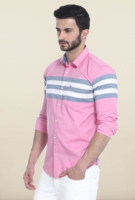 Basics Pink And Grey Striped Cotton Casual Shirt