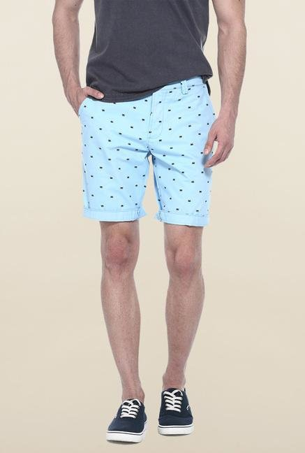 Basics Sky Blue Printed Casual Shorts