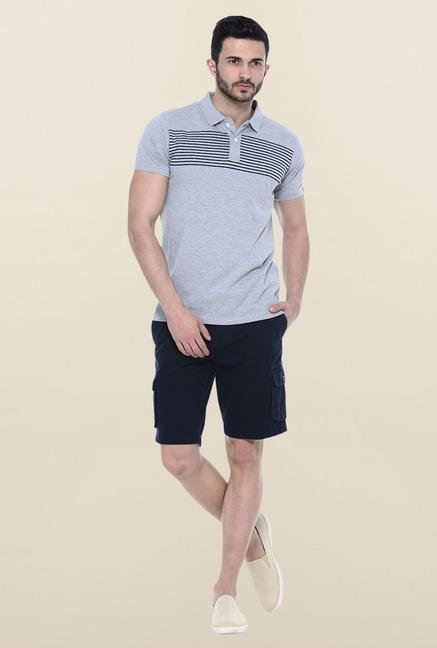 Basics Grey Slim Fit Polo T-Shirt