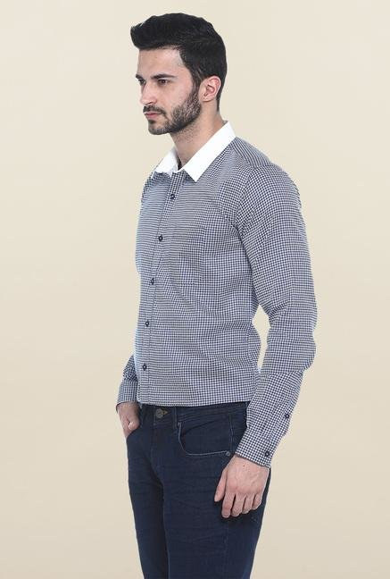 Basics Navy Printed Casual Shirt