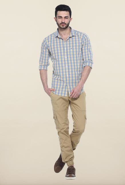 Basics Yellow Checks Casual Shirt