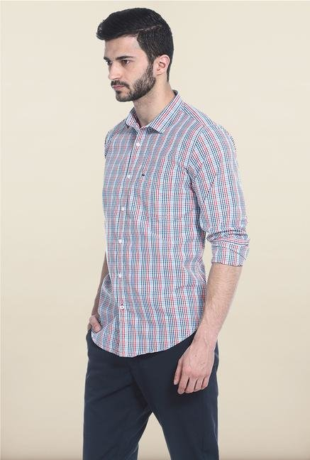 Basics Blue And Red Checks Casual Shirt