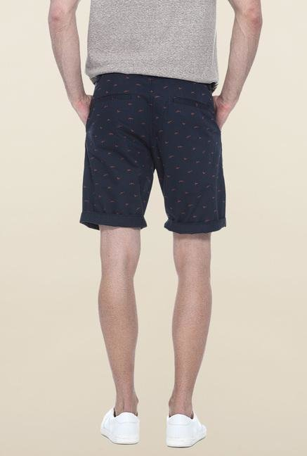 Basics Navy Printed Casual Shorts