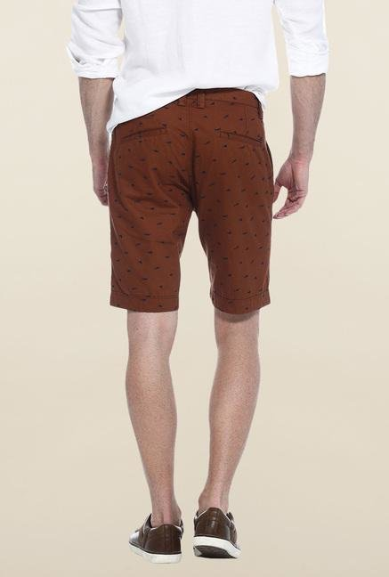 Basics Brown Printed Casual Shorts