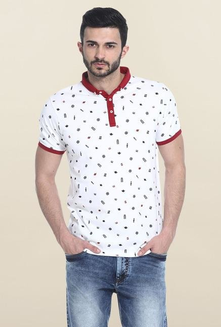 Basics White Printed Polo T-Shirt