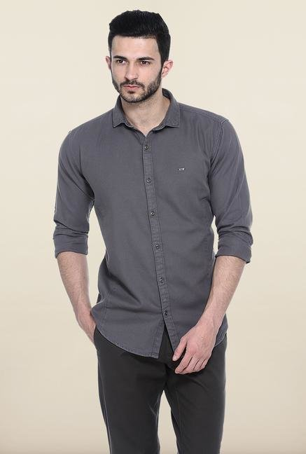 Basics Grey Solid Slim Fit Casual Shirt