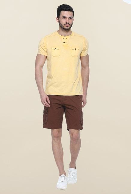 Basics Yellow Short Sleeves Solid T-Shirt