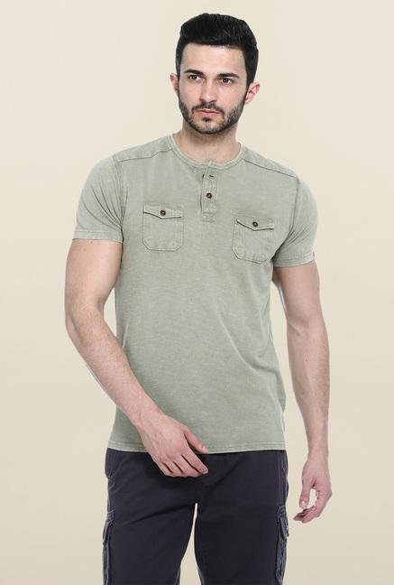 Basics Green Short Sleeves Solid T-Shirt