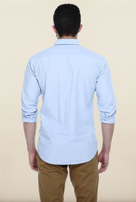 Basics Sky Blue Solid Casual Shirt
