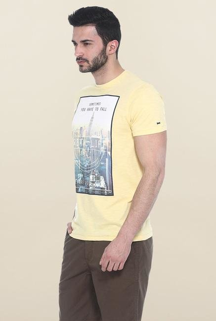 Basics Yellow Printed T-Shirt