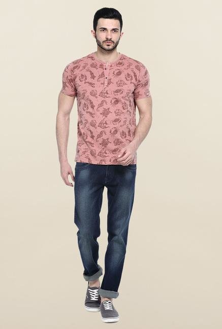 Basics Peach Printed T-Shirt