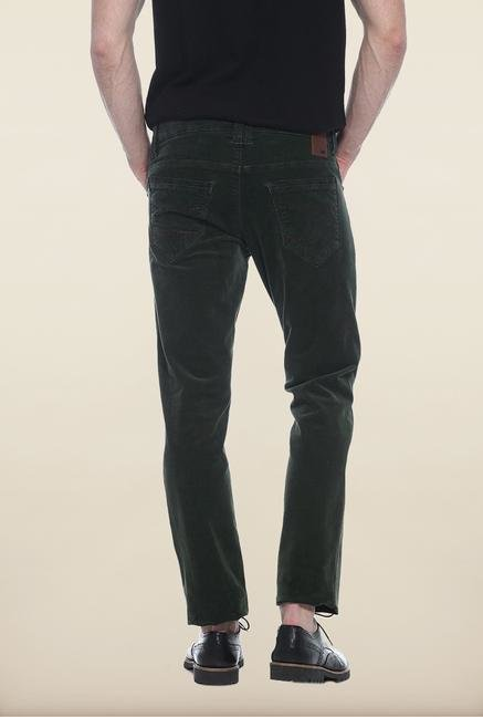 Basics Green Solid Straight Fit Chinos