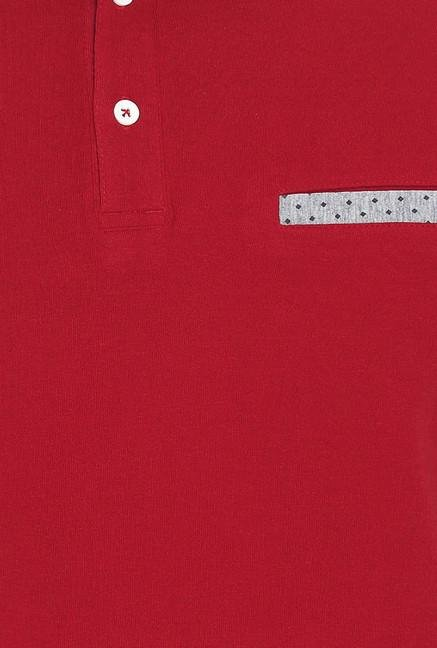 Basics Red Solid Polo T-Shirt