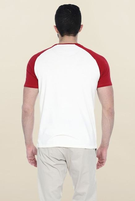 Basics White Printed Slim fit T-Shirt