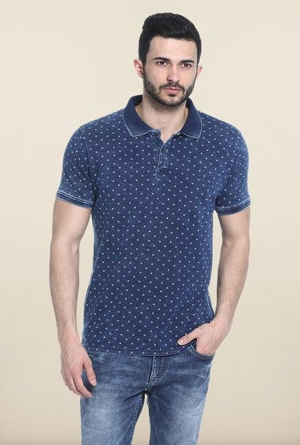 Basics Blue Printed Slim Fit Polo T-Shirt