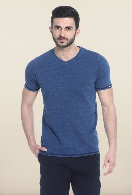 Basics Blue Short Sleeves Printed T-Shirt