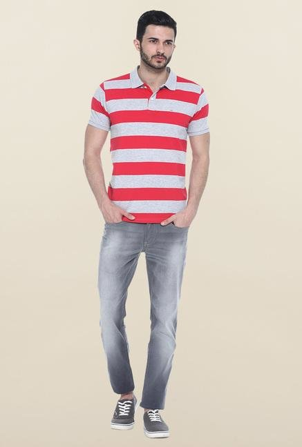 Basics Grey & Red Polo T-Shirt