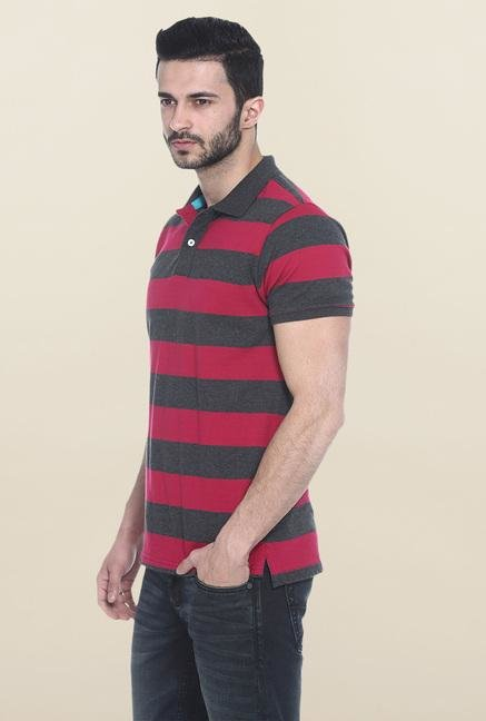 Basics Dark Grey & Red Polo T-Shirt