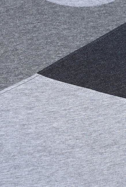 Basics Grey Short Sleeves Solid T-Shirt