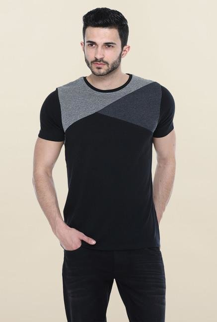Basics Black Short Sleeves Solid T-Shirt