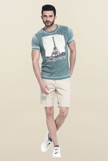 Basics Green Printed Slim fit T-Shirt