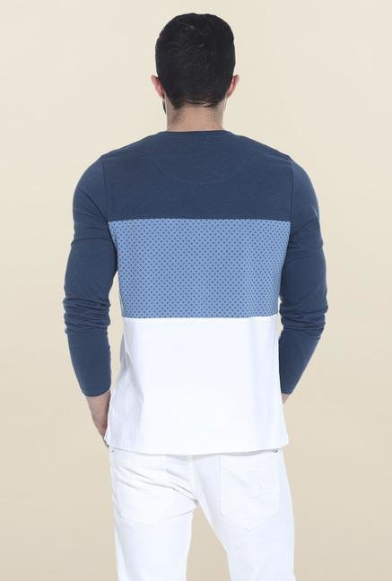 Basics Blue & White Full Sleeves Printed T-Shirt