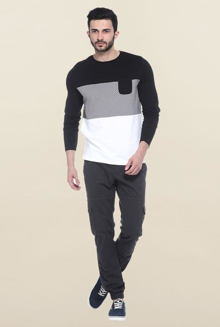 Basics Black & White Full Sleeves Printed T-Shirt