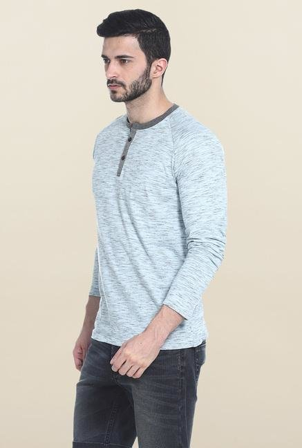 Basics Blue Solid Full Sleeves T-Shirt
