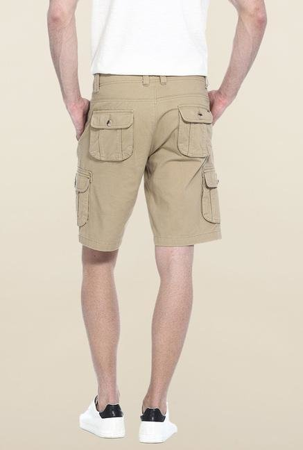 Basics Khaki Solid Casual Shorts