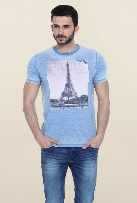 Basics Blue Printed Slim fit T-Shirt