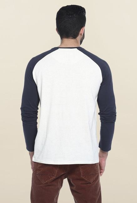 Basics White Full Sleeves Printed T-Shirt