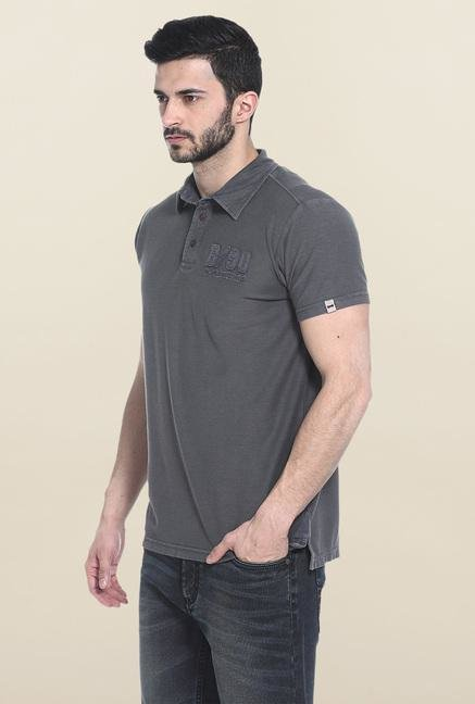 Basics Dark Grey Solid Polo T-Shirt