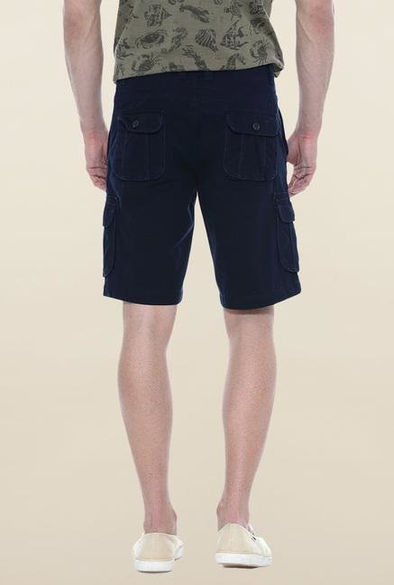 Basics Navy Solid Casual Shorts