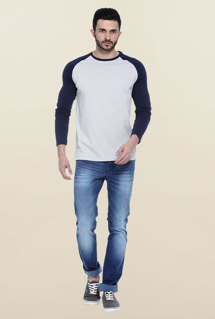 Basics Grey Full Sleeves Printed T-Shirt