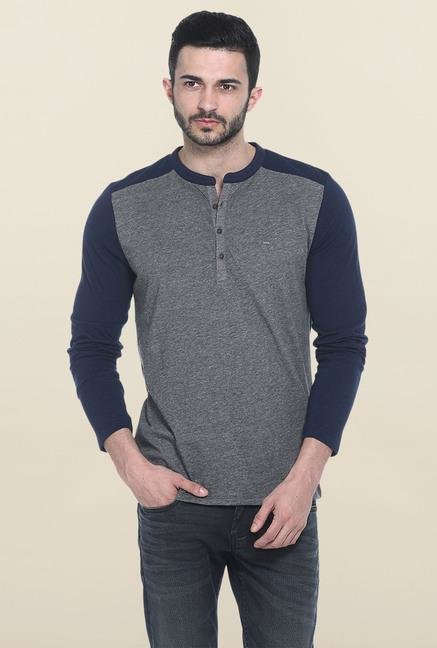 Basics Dark Grey Full Sleeves Solid T-Shirt