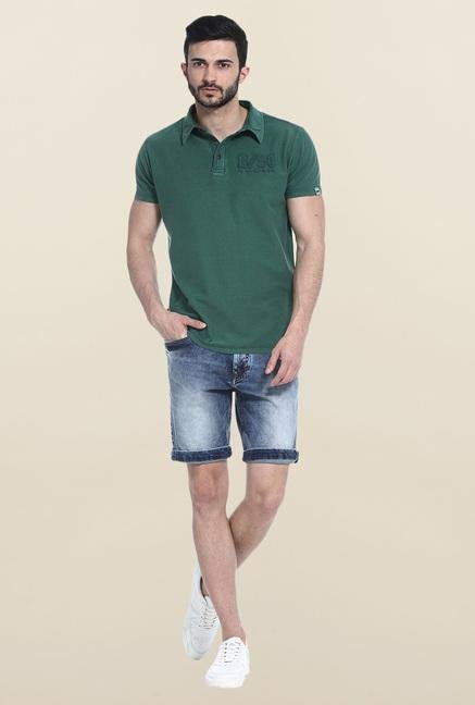 Basics Green Solid Slim Fit Polo T-Shirt