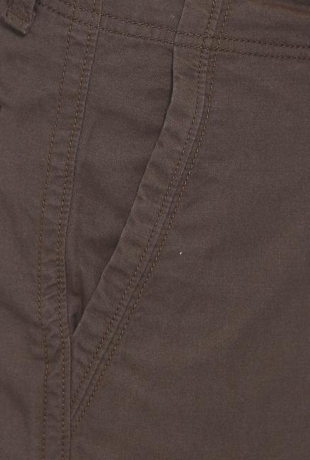 Basics Brown Solid Casual Shorts
