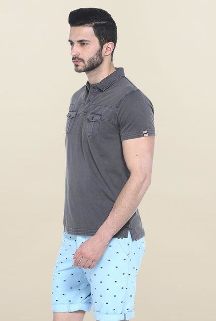 Basics Dark Grey Solid Slim Fit Polo T-Shirt