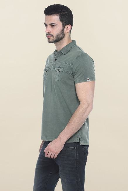Basics Green Solid Polo T-Shirt