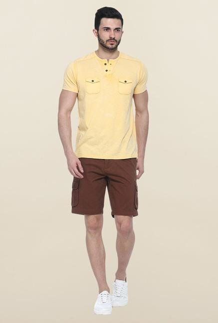Basics Brown Solid Cotton Casual Shorts